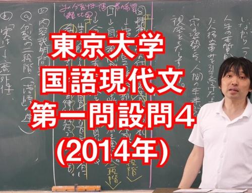 東京大学国語(現代文)過去問2014年[第一問設問4]の解説講義