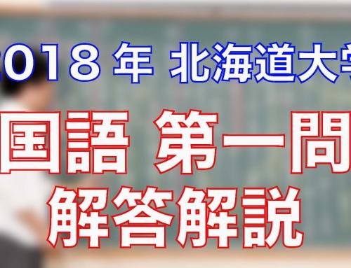 2018北海道大学/国語/第一問/解答解説