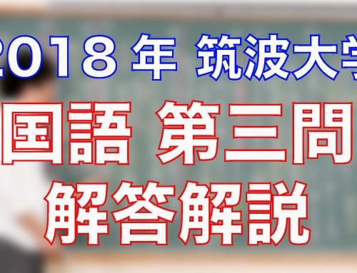 2018筑波大学/国語/第一問(現代文)/解答解説