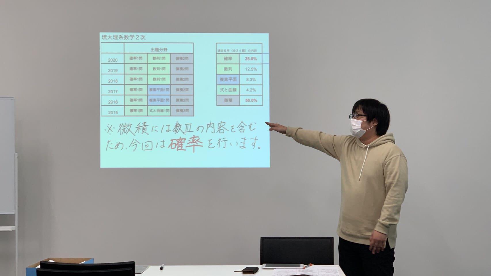 琉球大学対策の数学の授業画像。